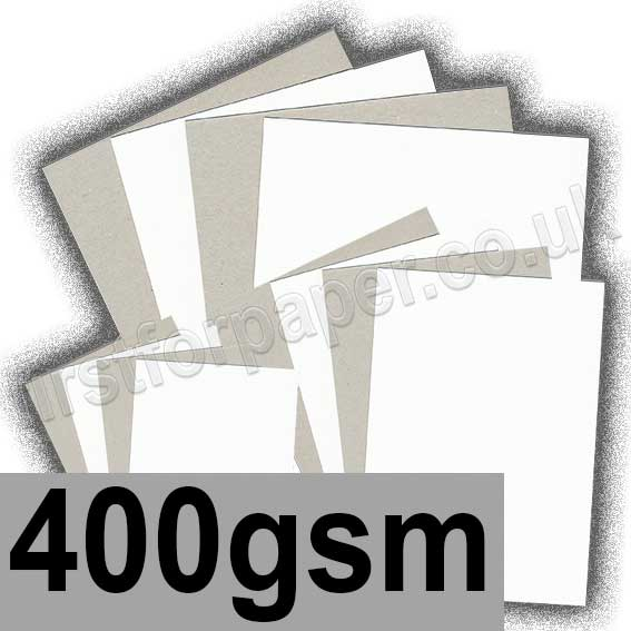 Grey Backed White Lined Chipboard, 400gsm