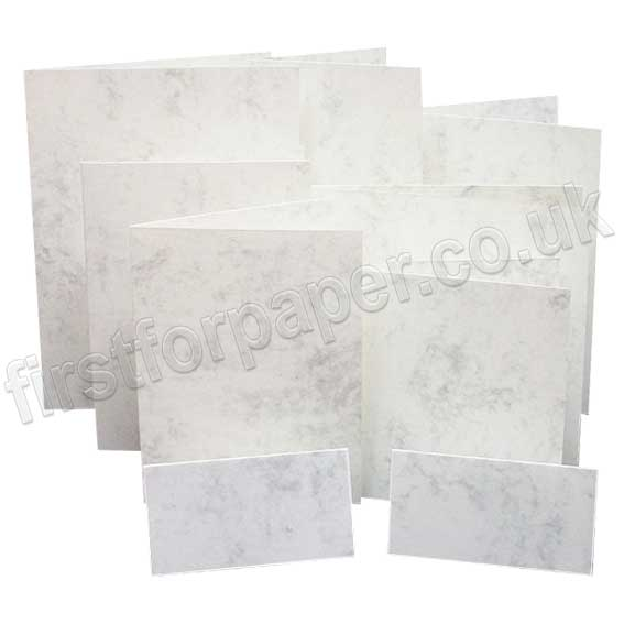 Marlmarque, Pre-creased, Single Fold Cards, 300gsm, Marble White