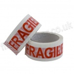 Printed Fragile Polypropylene Packaging Tape, 48mm x 66m