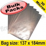 Cello Bag, with plain flaps, Size 137 x 184mm - 1,000 pack