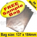 •Sample Cello Bag, with plain flaps, Size 137 x 184mm