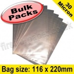 Cello Bag, with plain flaps, Size 116 x 220mm - 1,000 pack