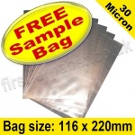 •Sample Cello Bag, with plain flaps, Size 116 x 220mm