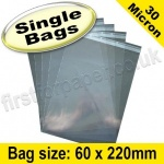 Cello Bag, with re-seal flaps, Size 60 x 220mm