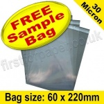 •Sample Cello Bag, with re-seal flaps, Size 60 x 220mm