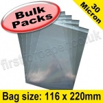 Cello Bag, with re-seal flaps, Size 116 x 220mm - 1,000 pack