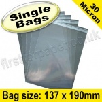 Cello Bag, with re-seal flaps, Size 137 x 190mm