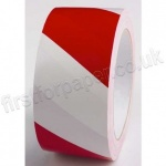 Red and White, Self Adhesive, Hazard Warning Tape