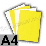 Cast Coated Card, 250gsm, A4, Yellow - 5 Sheets