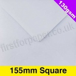 Premium Gummed Greetings Card Envelope, 130gsm, 155mm Square, White