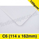 Premium Gummed Greetings Card Envelope, 120gsm, C6 (114 x 162mm), White