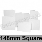 Silky Smooth Inkjet/Laser, Pre-creased, Single Fold Cards, 300gsm, 148mm Square, White
