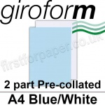 Giroform Carbonless NCR, 2 part pre-collated, A4, Blue/White - 250 Sets