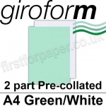 Giroform Carbonless NCR, 2 part pre-collated, A4, Green/White - 250 Sets