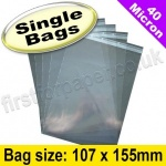 Cello Bag, with re-seal flaps, Size 107 x 155mm