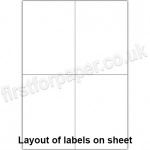 White Digital Office Labels, 105 x 148mm, 100 sheets per box