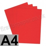 Clearance Coral Red Card, 160gsm, A4 - 50 sheets