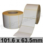 White Semi-Gloss, Self Adhesive Labels, 101.6 x 63.5mm, Permanent Adhesive - Roll of 2,000