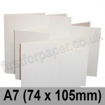 Linen Texture, Pre-creased, Single Fold Cards, 260gsm, 74 x 105mm (A7), Brilliant White