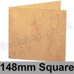 Marlmarque, Pre-creased, Single Fold Cards, 300gsm, 148mm Square, Grecian Tan