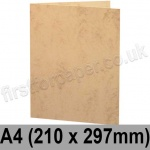 Marlmarque, Pre-creased, Single Fold Cards, 300gsm, 210 x 297mm (A4), Grecian Tan