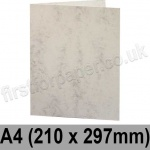 Marlmarque, Pre-creased, Single Fold Cards, 300gsm, 210 x 297mm (A4), Marble White