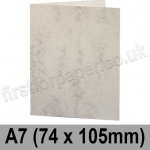 Marlmarque, Pre-creased, Single Fold Cards, 300gsm, 74 x 105mm (A7), Marble White