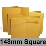 Stardream, Pre-creased, Single Fold Cards, 285gsm, 148mm Square, Fine Gold