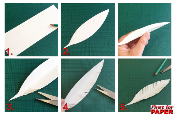 Paper craft feather tutorial images