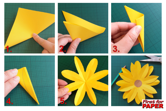 Step by step images for simple 8 petal paper craft tutorial