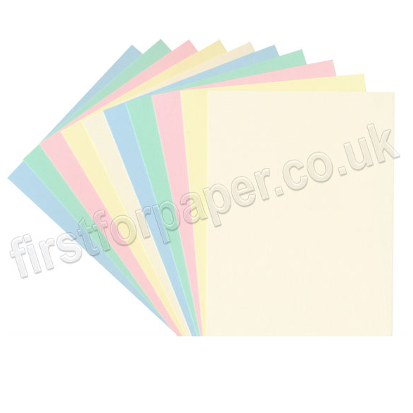 Selection of pastel coloured card sheets for card making, shown fanned out