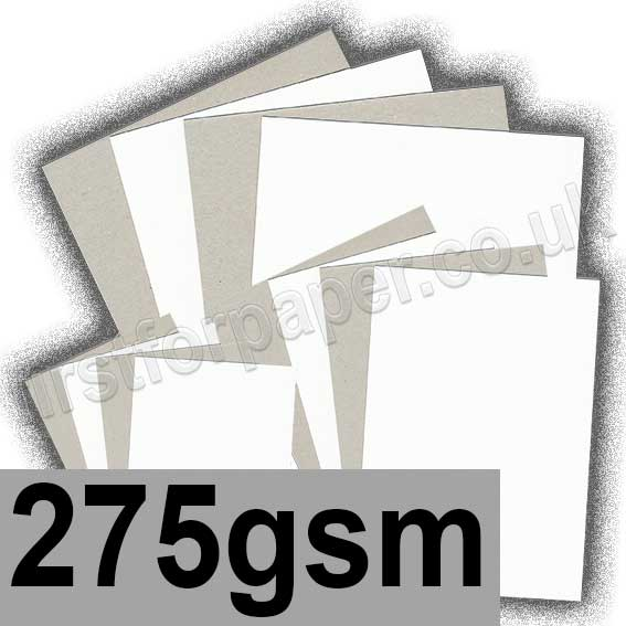 Grey Backed White Lined Chipboard, 275gsm