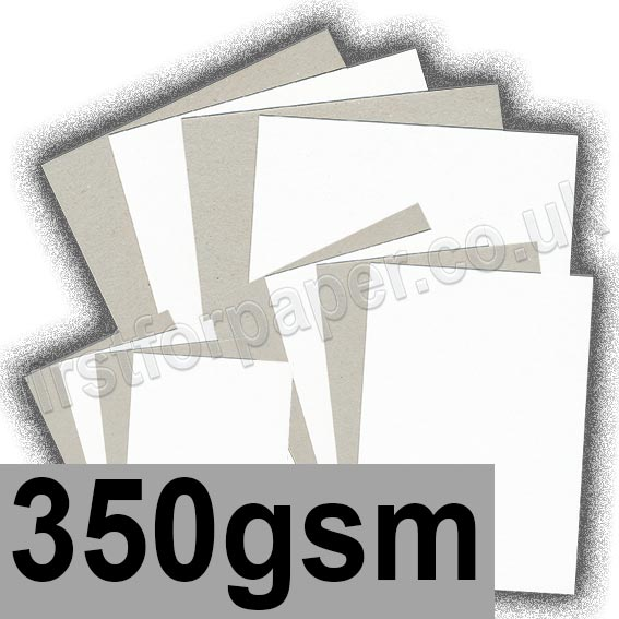 Grey Backed White Lined Chipboard, 350gsm