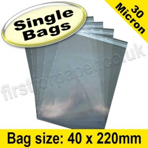 Cello Bag, with re-seal flaps, Size 40 x 220mm