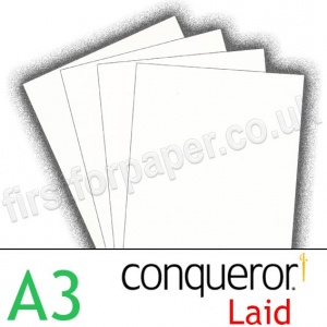Conqueror Textured Laid, 300gsm, A3, Diamond White