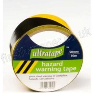 Black and Yellow, Self Adhesive, Hazard Warning Tape