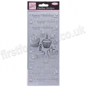 Anita's Peel Off Outline Stickers, Birthday Cupcake - Silver
