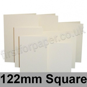 Rapid Colour Card, Pre-creased, Single Fold Cards, 225gsm, 122mm Square, Eider Vellum