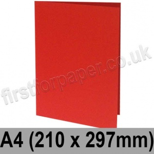 Rapid Colour Card, Pre-creased, Single Fold Cards, 225gsm, 210 x 297mm (A4), Rouge Red