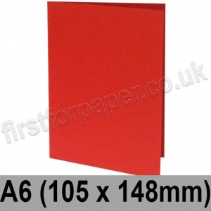 Rapid Colour Card, Pre-creased, Single Fold Cards, 225gsm, 105 x 148mm (A6), Rouge Red