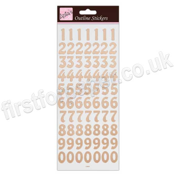 Small Numbers Gold Anitas outline peel off craft stickers
