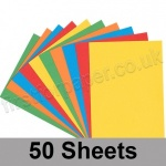 Craft & Hobby, Thick Card Pack, Bright Shades, 50 A4 sheets