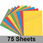 Craft & Hobby, Thin Card Pack, Bright Shades, 75 A4 sheets