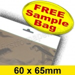 •Sample Cello Bag, with Euroslot Header, Size 60 x 65mm