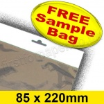 •Sample Cello Bag, with Euroslot Header, Size 85 x 220mm