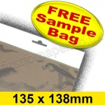•Sample Cello Bag, with Euroslot Header, Size 135 x 138mm