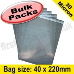 Cello Bag, with re-seal flaps, Size 40 x 220mm - 1,000 pack