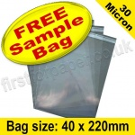 •Sample Cello Bag, with re-seal flaps, Size 40 x 220mm