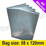 Cello Bag, with self seal flaps, Size 58 x 120mm - 800 bags