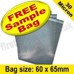 •Sample Cello Bag, with re-seal flaps, Size 60 x 65mm